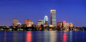 Boston city skyline at dusk