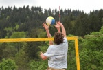 beachvolleyball spike against block